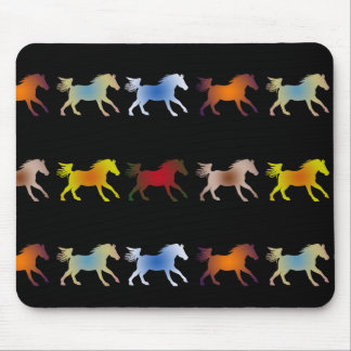 Galloping Ponies on Black Mouse Pad