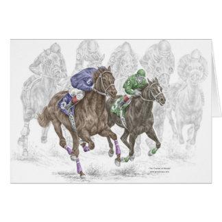 Galloping Race Horses Card