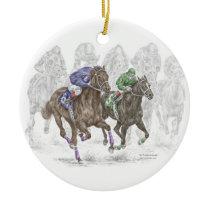 Galloping Race Horses Ceramic Ornament