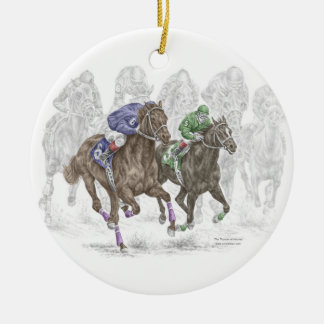 Galloping Race Horses Ceramic Ornament