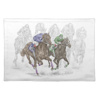 Galloping Race Horses Cloth Place Mat