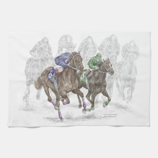 Galloping Race Horses Hand Towel