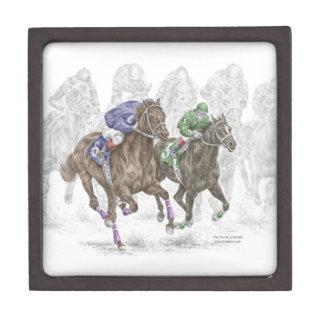 Galloping Race Horses Keepsake Box