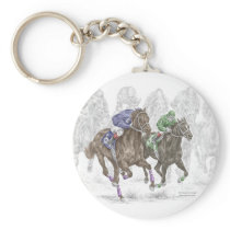 Galloping Race Horses Keychain