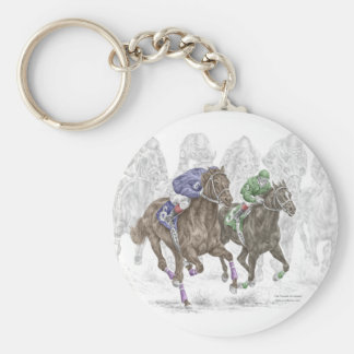 Galloping Race Horses Keychains