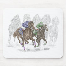 Galloping Race Horses Mouse Pad