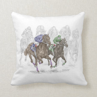 Galloping Race Horses Throw Pillow