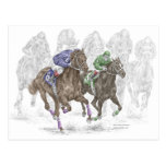 Galloping Race Horses Postcard