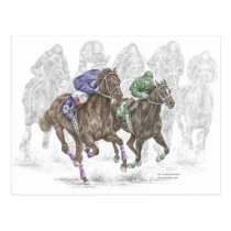 Galloping Race Horses Postcard