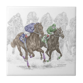 Galloping Race Horses Small Square Tile