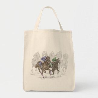 Galloping Race Horses Tote Bag