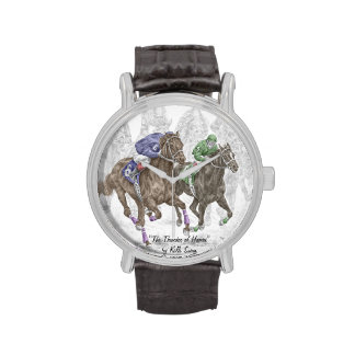 Galloping Race Horses Wrist Watch