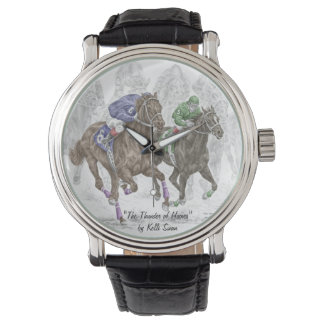 Galloping Race Horses Wristwatch