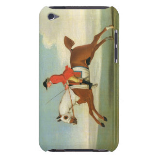 Galloping Racehorse and mounted Jockey in Red (oil Barely There iPod Cover