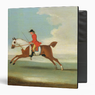 Galloping Racehorse and mounted Jockey in Red oil Vinyl Binder