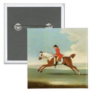 Galloping Racehorse and mounted Jockey in Red (oil Button