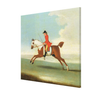 Galloping Racehorse and mounted Jockey in Red (oil Stretched Canvas Print