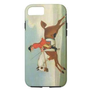 Galloping Racehorse and mounted Jockey in Red (oil iPhone 8/7 Case