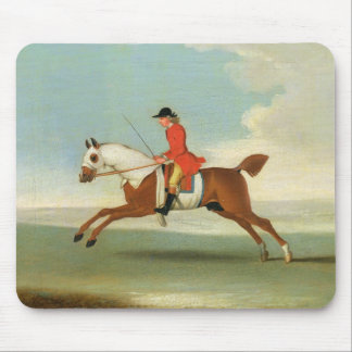 Galloping Racehorse and mounted Jockey in Red (oil Mouse Pad
