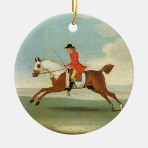 Galloping Racehorse and mounted Jockey in Red (oil Christmas Tree Ornament