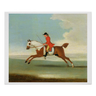 Galloping Racehorse and mounted Jockey in Red (oil Poster