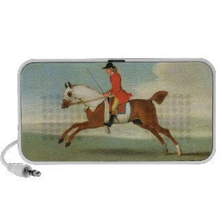 Galloping Racehorse and mounted Jockey in Red (oil Portable Speaker