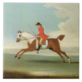Galloping Racehorse and mounted Jockey in Red (oil Tile
