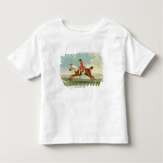 Galloping Racehorse and mounted Jockey in Red (oil Toddler T-shirt