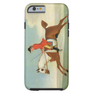 Galloping Racehorse and mounted Jockey in Red (oil Tough iPhone 6 Case