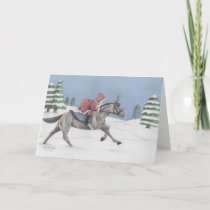 Galloping Santa Holiday Card