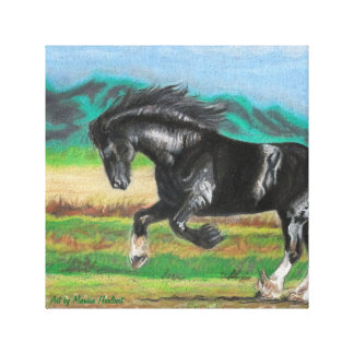 "Galloping Shire Horse 12"" x 12"" Canvas Art Print"