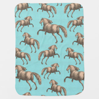 Galloping Spanish Stallions Aqua Background Baby Blanket