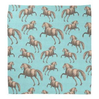 Galloping Spanish Stallions Aqua Background Bandana