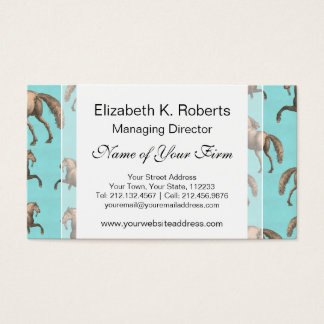 Galloping Spanish Stallions Aqua Background Business Card