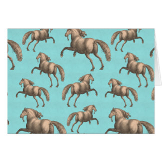 Galloping Spanish Stallions Aqua Background Card
