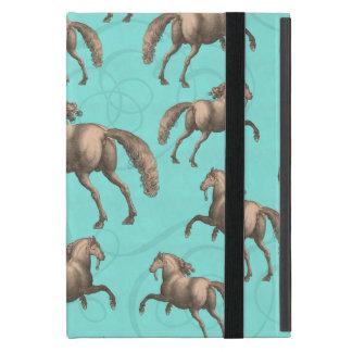 Galloping Spanish Stallions Aqua Background Case For iPad Mini