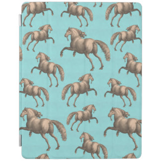 Galloping Spanish Stallions Aqua Background iPad Smart Cover