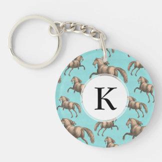 Galloping Spanish Stallions Aqua Background Keychain