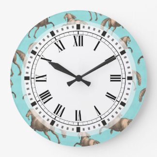 Galloping Spanish Stallions Aqua Background Large Clock