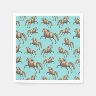 Galloping Spanish Stallions Aqua Background Paper Napkin