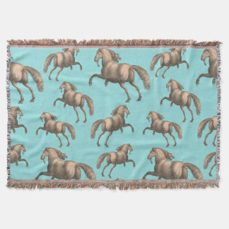 Galloping Spanish Stallions Aqua Background Throw