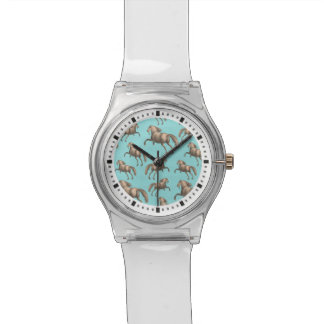 Galloping Spanish Stallions Aqua Background Wristwatch