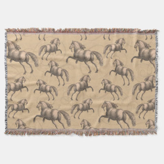 Galloping Spanish Stallions Sepia Background Throw