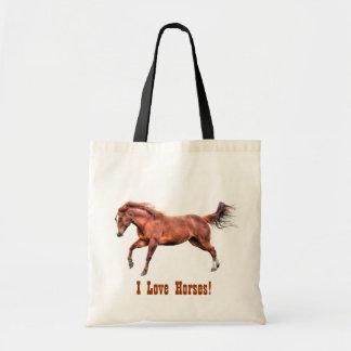 Galloping Spirited Red Dun Horse Design Tote Bag