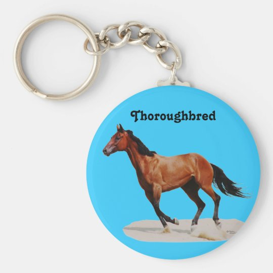 Galloping Thoroughbred Keychain