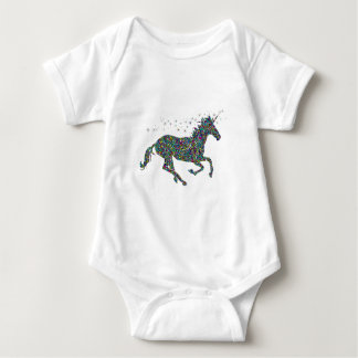 Galloping Unicorn Stained Glass Baby Bodysuit