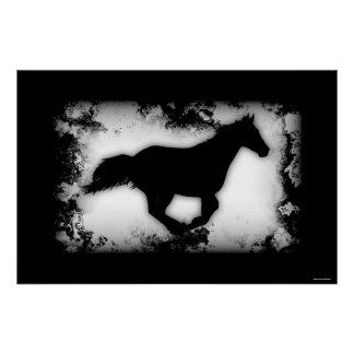 Galloping Western-style Horse Silhouette Poster