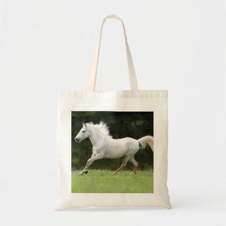 Galloping White Horse Budget Tote Bag