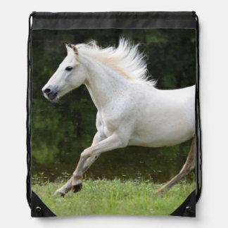 Galloping White Horse Drawstring Bag
