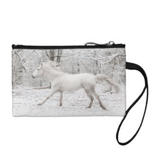 Galloping White Horse in the Snow Coin Wallet